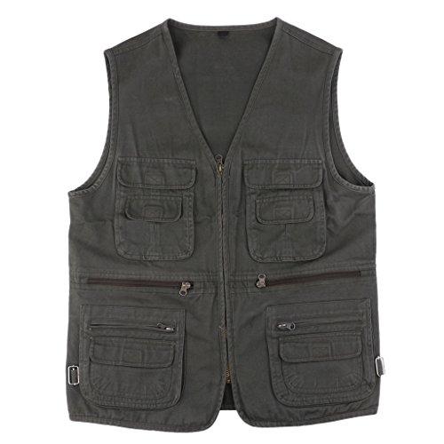 B blesiya multi tasca gilet giacche giubbino da pesca sport accessori per fotografia caccia viaggio pesca - militare verde, 3xl