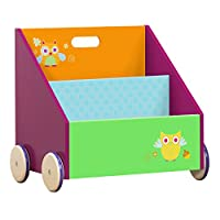 Labebe Child Bookcase, Small Wooden Bookshelf with Wheels, 2-in-1 Green Owl Bookshelf for Kids 1-5 Years, Child Bookshelf Storage/Bookshelf Book/Coloured Bookcase/Animal Bookcase/Boy&Girl Bookcase