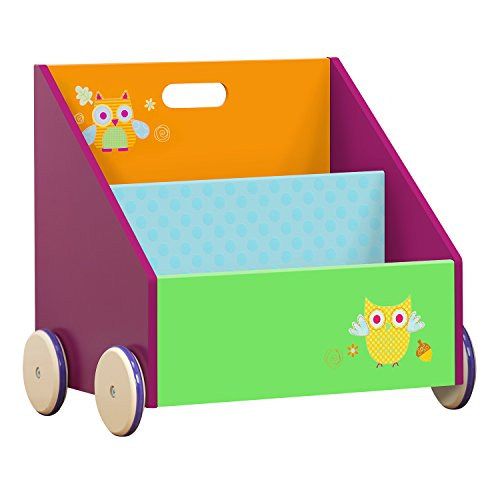 Labebe Kinder Bücherregal, Holz Standregal with Räder, Grüne Eule 2-in-1 Bücherregal Für Kinder 1-5 Jahre Alt, Kleiner Standregal/Bücherregal Regal/Bücher Regal/Modern Standregal/Bücherregal Tier/ (Bücherregal Tier 3)