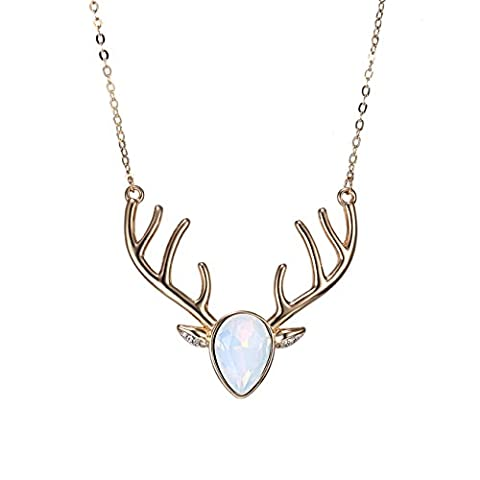 eManco Gold Statement Deer Antler Cute Animal Opal Cyrstal Pendant