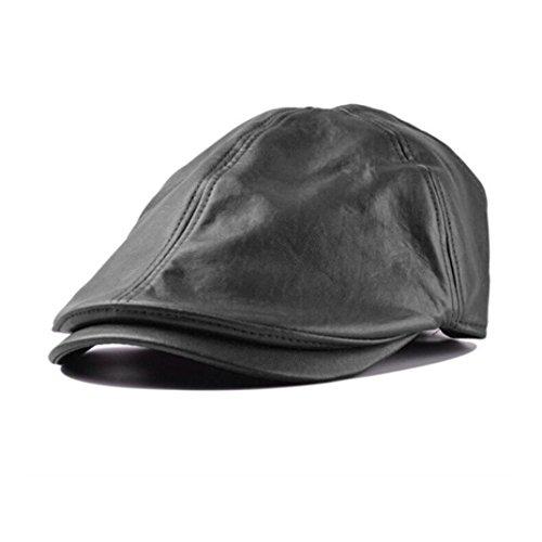 Malloom Gorra Béisbol de cuero, Gorra de Béisbol, sombrero cuero, Gorra de Cuero, Cap, Cuero hombre, el gorro, gorro con visera gorras, Sombrero de deporte (negro)