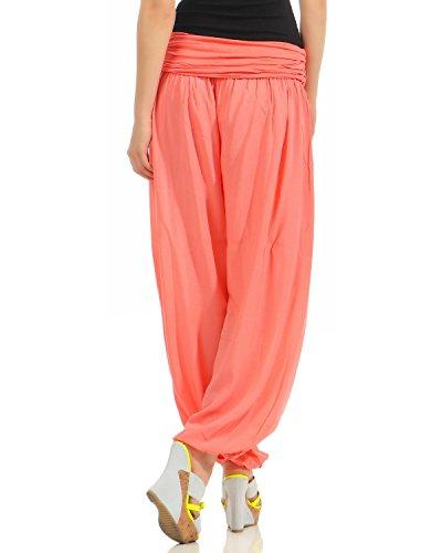 ZARMEXX Damen Pumphose Pluderhose Harem-Stil Sommerhose all over Print Freizeithose Aladinhose Hose One Size Uni-lachs