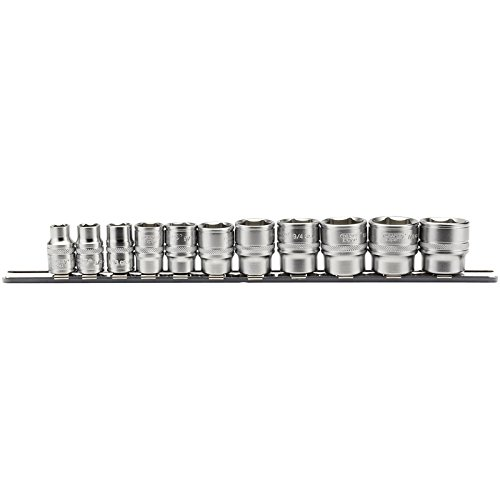 Draper 16493 Steckschlüsselsatz auf Metallschiene, 3/8-Zoll-Vierkantantrieb, 11-teilig