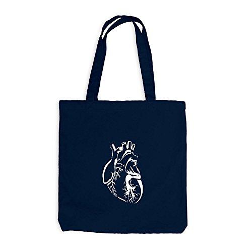 Jutebeutel - Authentic Heart - Herz Style Look Cool Navy