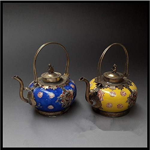 KWELJW Antique Crafts Copper Porcelain Pot Ornaments hip Flask teapot Home Decorations Gifts Antiques Collection - Flask Pots