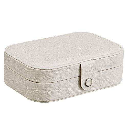 DCY-Art Schmuckkästen, doppelschichtige, große Kapazität, tragbare Reise, Schmuckschatulle mit Schubladenverschluss, Aufbewahrungsbox für Ohrstecker, Leder,Weiß,16.5 * 11.5 * 5.5Cm