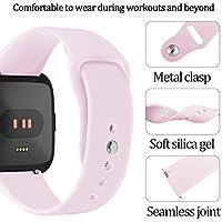 Conquro Correa de Reloj Pulsera de muñeca Suave del reemplazo del silicón del Deporte para Fitbit Versa SmartWatch (Color de Rosa Caliente)