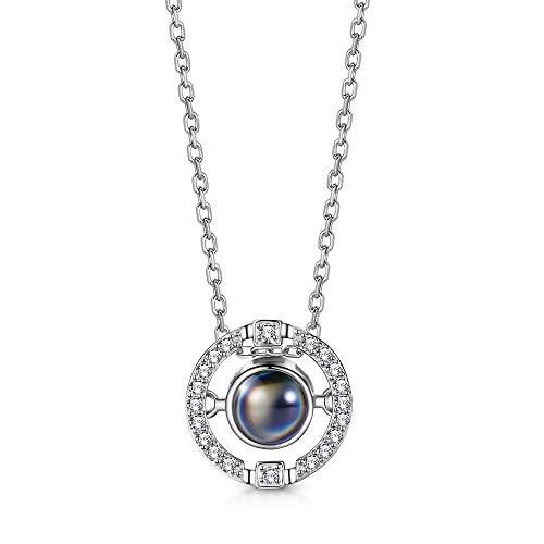 T400 Halskette Silber 925 mit Anhänger I Love You 100 Sprachen Ich Liebe Dich Projektion Love Kette Damen Liebesgeschenk,40cm+3cm Kettenlänge
