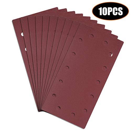 Papeles de Lija, Tacklife 10PCS 115x230mm Lijas de 120 Granos para Lijadora Orbital, Papeles Abrasivos con 14 Agujeros, Seco y Cambio Rápido con Velcro Durable, ASD3A