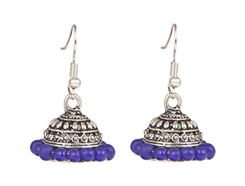 Sansar India Oxidized Silver Plated Handmade Beaded Jhumka Earrings for Girls and Women  available at amazon for Rs.129