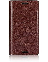Sony Xperia Z3 Compact Hülle, DENDICO Premium Flip Leder Brieftasche Handyhülle, Kartenfach / Standfunktion / Magnetverschluss Wallet Tasche Schutzhülle Anti-Shock Etui für Samsung Sony Xperia Z3 Compact - Braun