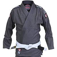 Valor Bravura BJJ GI/Kampfsportanzug, graue Jacke und Hose, inklusive weißer Gürtel