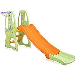 Baby Vivo Toboggan Enfant Aire de jeux Jeu d'Extérieur et à l'Intérieur pour Enfants Jardin en Orange/Vert
