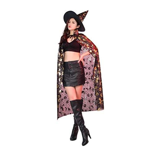 Zhhlinyuan Halloween Umhang mit Hexenhut Mittlere Länge - -