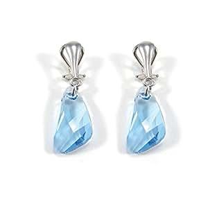 INDICOLITE PARIS - Boucles D'oreilles Pour Femme Cristal Bleu De Swarovski Fermoir Clip Indicolite - Cristal de Swarovski