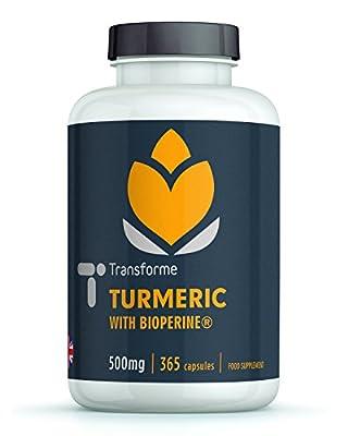 Turmeric Curcumin High Strength 500mg with BioPerine, 365 Capsules, Vegetarian, Vegan, 5mg BioPerine for up to 2000% Better Absorption & 20X Potency, Anti-Inflammatory, Pure, Gluten Free, Non GMO, Money Back Guarantee, UK Manufactured, by Transforme