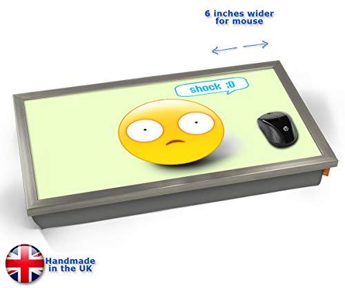 Shock Emoticon Emoji Cushioned Bean Bag Laptop Lap Tray Desk - Built-in EMF Shield (Electro Magnetic...