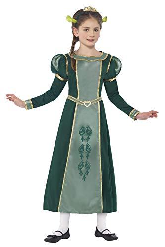 Shrek Kostüm Ohren - Smiffys Kinder Shrek Prinzessin Fiona Kostüm, Kleid, Haarband mit Diadem und Ohren, Shrek, Größe: L, 20491