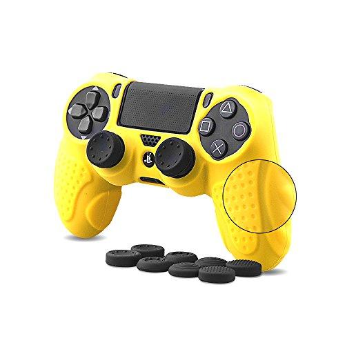 CHIN FAI PS4 Controller Schutz-Hülle,Silikon Anti-Rutsch 8 Daumen Griffe Skin Grip Schutzhülle für Sony PS4 / Slim/Pro Controller(Gelb)