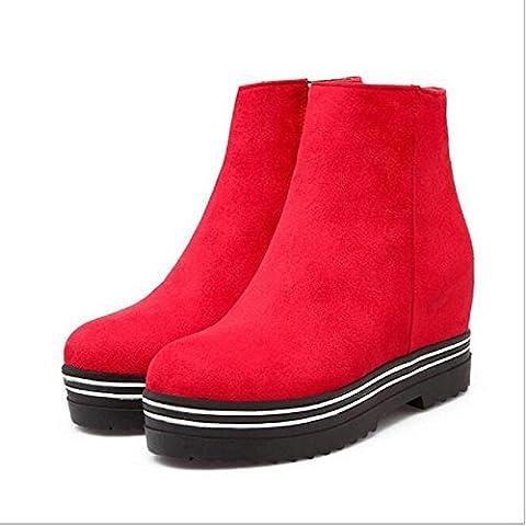 Las mujeres friegan moda caliente dentro cuñas Martin botas botas de nieve , red , 39