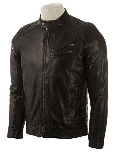Schlank geschnittene Herren-Bikerjacke von MDK aus superweichem Echtleder mit gepolsterten Schultern Schwarz