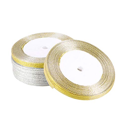 Supvox 5 Rolls Glitter Ribbon Wrapping, Glitter Trimmings dekorative Bänder für Geschenkverpackung (Silber + Golden) (Wrapping Silber Band)