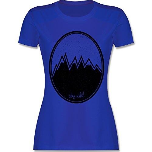 Wildnis - Stay wild. Berge - tailliertes Premium T-Shirt mit Rundhalsausschnitt für Damen Royalblau