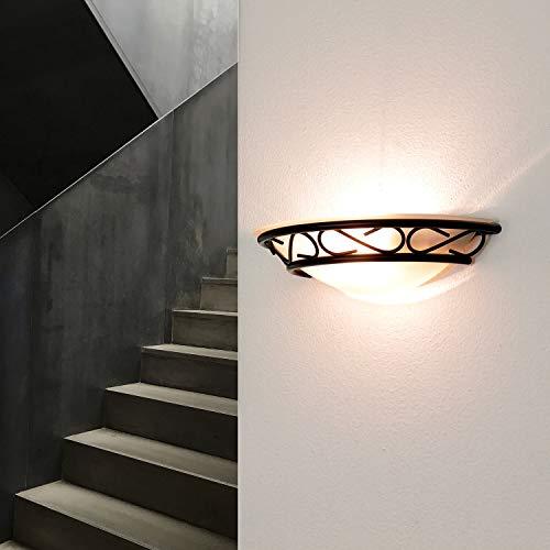 Licht Erlebnisse 3721 Rustikale Wandleuchte Halbschale im Landhausstil, Schwarz, 60 W -