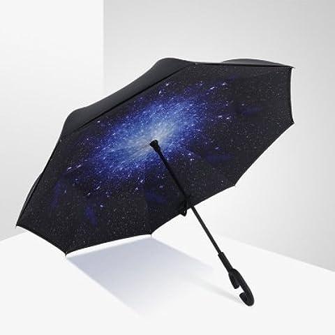 COLLECTOR Creativo inversa ombrello stand c-maniglia contro il vostro auto business pubblicità ombrello 60cm,Stella luminosa