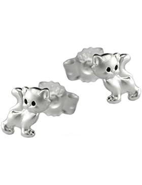 Ohrring Katze für Mädchen 925 Silber Kinderschmuck Ohrstecker