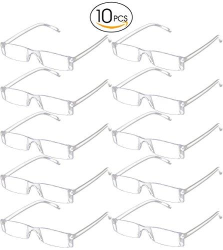 BestWahl 10x Lesebrille Transparent Randlos Randlose Rahmenlose Brille Damen Herren (10 Pcs Lesebrille, - Rahmenlose Brillengestelle