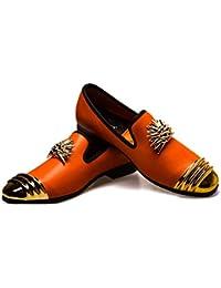 DAN Zapatos Casuales Mocasines De Hombre Zapatos Planos De Microfibra De Cuero Zapatos De Banquete Zapatos
