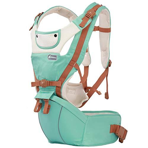 ACEDA Babytrage Für Neugeborene 0-36 Monate (Bis 25kg) Ergonomische Babytragetasche, Bauchtrage Und Rückentrage,Atmungsaktive Rückentrage Rückentrage Hüfttrage,Grün,Mintgreen