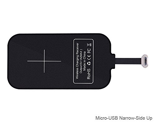 Micro USB Qi induktive Lade-Empfänger [Schmalseite nach Oben] - kabellose Ladegerät Aufladen Empfänger Modul für Android Handy Xperia E5, Z5, Samsung J3, J5, Galaxy S7, Huawei Mate, Moto, LG G Stylo