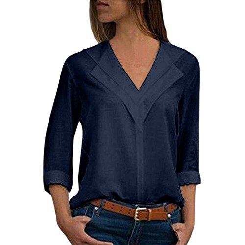 Innerternet Damen Bluse Elegant Chiffon V-Ausschnitt Langarm Casual Oberteil Lose Langarmshirt Mode Hemd V-Ausschnitt Vintage Tunika T-Shirt