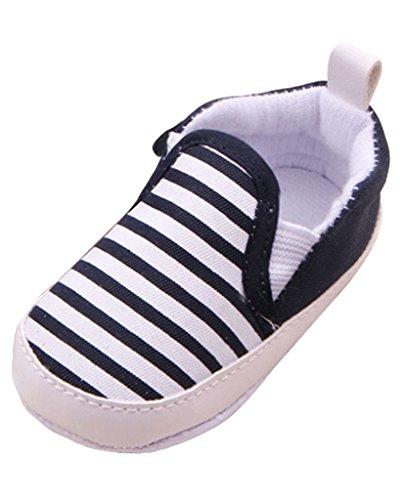 Minetom Pour 0-18 mois Bébé Fille Garçon Chaussures à Semelle Souple Rayé Antidérapant en Coton Toddler Shoes