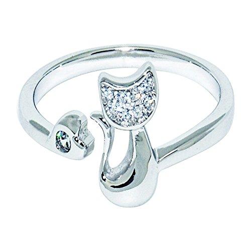 Wristchie, anello regolabile da donna in argento sterling 925, motivo gatto (argento)