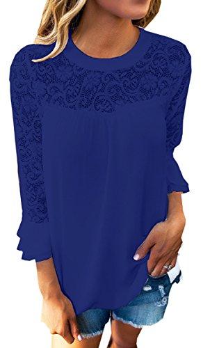 BLACKMYTH Donna Manica Lunga Tops Girocollo Moda Boho Camicia Blouse Maglietta Blu