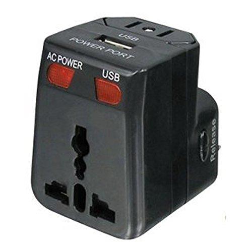 Fishtec ® Universal-Netzadapter mit USB-Anschluss - Überspannungsschutz X2 Sicherungen - Kompatibel in 175 Ländern
