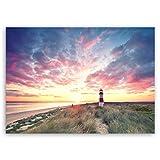 ge Bildet® hochwertiges Leinwandbild - Leuchtturm auf Sylt - 40 x 30 cm einteilig 2214 T