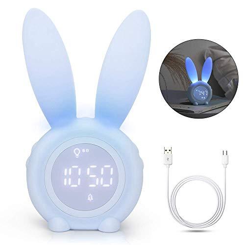 Yidenguk Reloj despertador lindo conejo, Despertador digital LED con control por voz y luz nocturna...