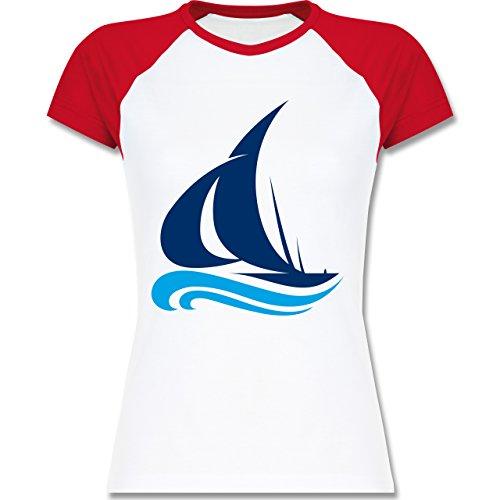 Schiffe - Segelboot - zweifarbiges Baseballshirt / Raglan T-Shirt für Damen  Weiß/Rot