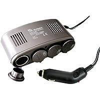 Eufab 16567 - Presa 4 in 1, 12 V, con fusibile 10 A, LED di controllo dello stato della batteria, cavo 1 m per accendisigari