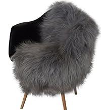 natural ASAN Island Cordero oveja, de alta calidad, aspecto de pelo largo, sedoso Alfombra de cordero, respetuoso con el medio curtida, decoración de cordero, respetuoso con el medio, de piel natural, curtida Alfombrilla Gris, gris, 90 -100 cm