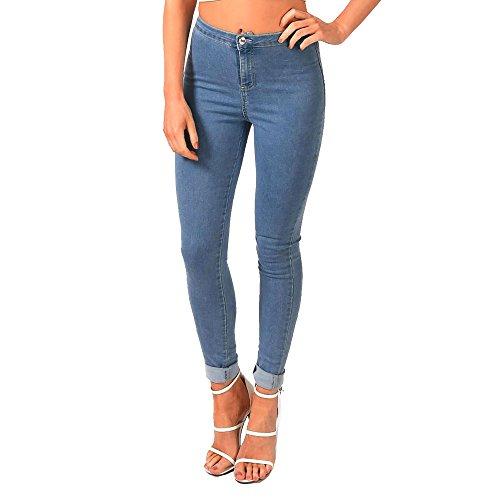 SCO New Womens 2 Pocket Ripped Knee High Waisted Stretchy Skinny Jean Denim Plus Size