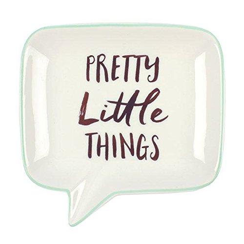 'Pretty Little Things' Speech Bubble Weiß Keramik Schmuck Gericht mit Mint Einfassung & Rose Gold Schrift 12,5x 12,5x 2,2cm (Laura Ashley Bad)