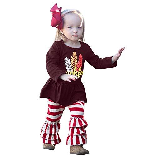 Zarupeng Baby Mädchen Langarm Rundhals Strampler Bluse Rock + Gestreiften Rüschen Hosen Zweiteilige Set Babykleidung Body Rock