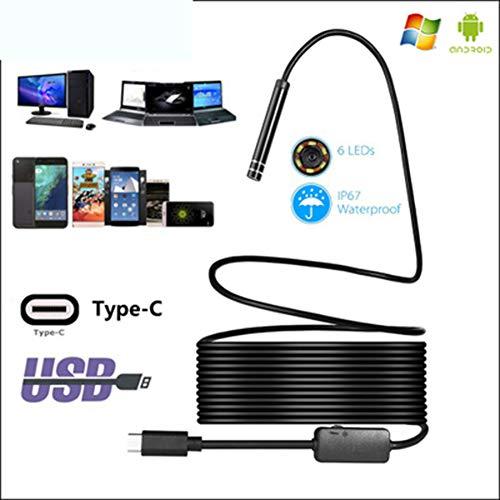 USB-C/C Tipo-endoscopio Tubo Impermeable cámara de inspección, 1m / 3m / 5m / 7m / 10m cámara de 2,0 MP HD con 8 Leds para Android Smartphone y Dispositivos de Windows,1m