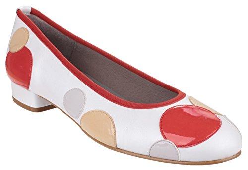 Riva Moosha Mesdames glisser sur Classic chaussure en cuir souple Corail / Blanc