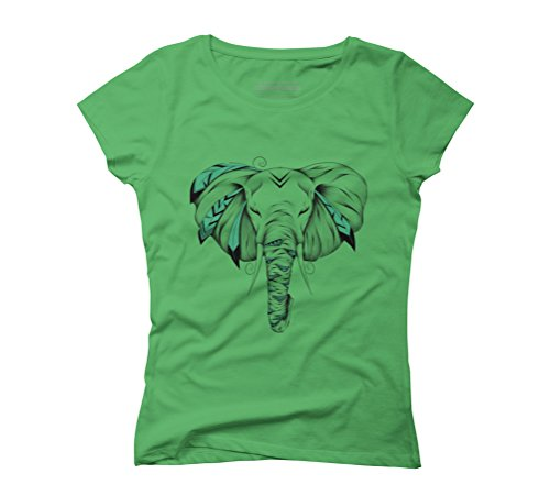 Poetic Elephant Women's Graphic T-Shirt - Design By Humans Green